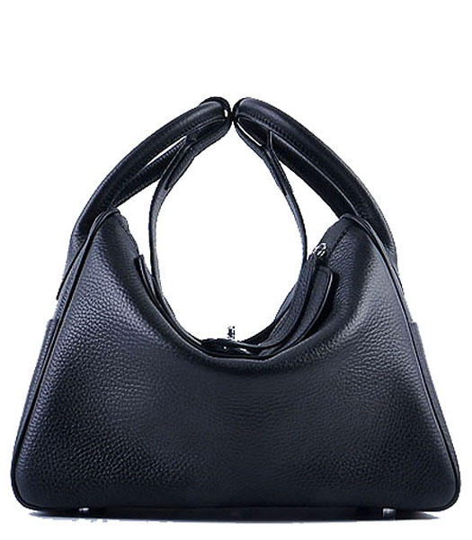 Hermes Lindy 30CM Grainy Leather Shoulder Bags in Black