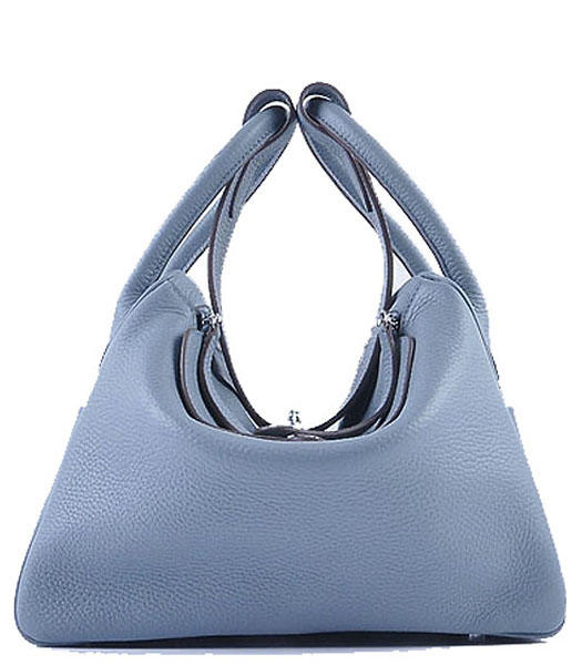 Hermes Lindy 30CM Grainy Leather Shoulder Bags in Bice