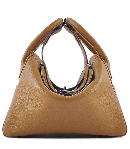 Hermes Lindy 30CM Grainy Leather Shoulder Bags in Light Coffee