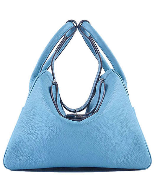 Hermes Lindy 30CM Grainy Leather Shoulder Bags in Light Blue