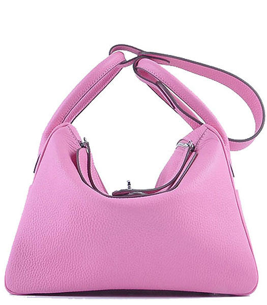 Hermes Lindy 30CM Grainy Leather Shoulder Bags in Sakura Pink
