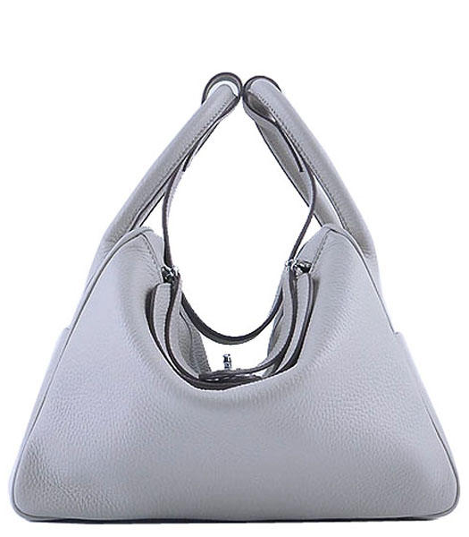 Hermes Lindy 30CM Grainy Leather Shoulder Bags in Pearly Grey