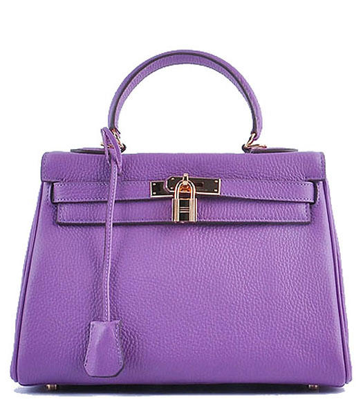 Hermes Kelly 28cm Purple/Pink Calfskin Bags Golden Metal