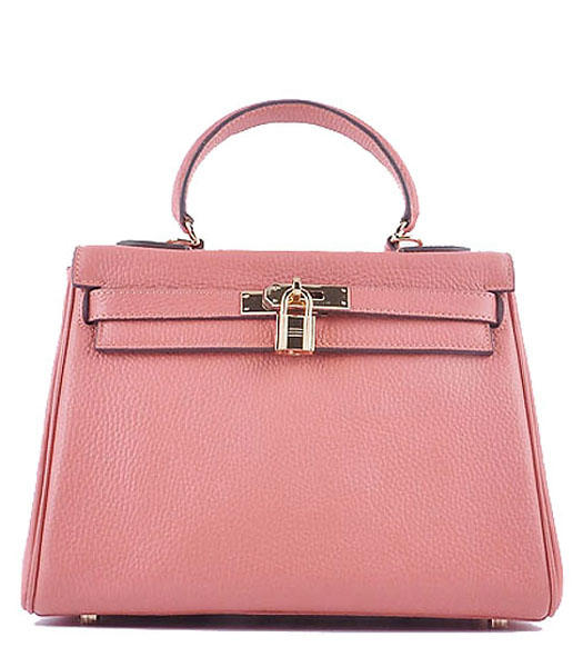Hermes Kelly 28cm Lobster Pink Calfskin Bags Golden Metal