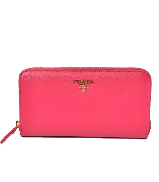 Prada Gaufre Fuchsia Cross Veins Leather Zip Wallet