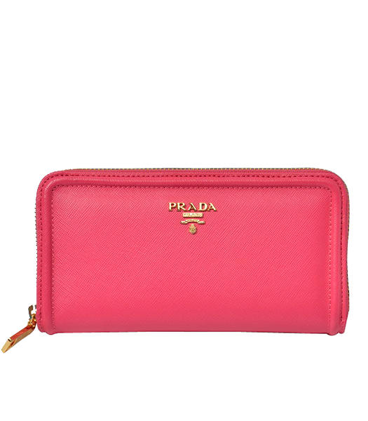 Prada Gaufre Fuchsia Cloth Veins Leather Zip Wallet