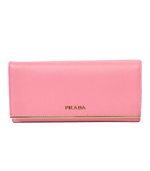 Prada Long Fold Wallet With Light Pink Cloth Veins Leather