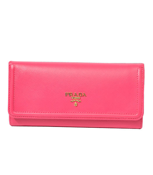 Prada Long Fold Wallet With Fuchsia Cloth Veins Leather