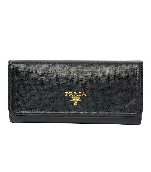 Prada Long Fold Wallet With Black Cloth Veins Leather