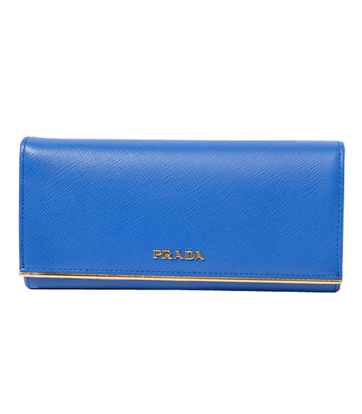 Prada Long Fold Wallet With Electric Blue Cloth Veins Leather