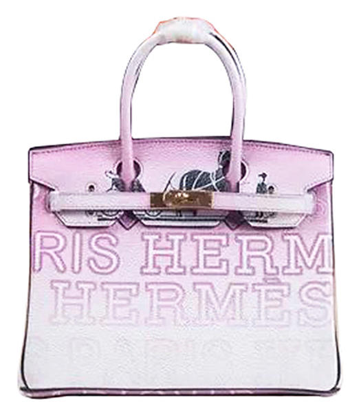 Hermes Birkin 35cm Light Purple/White Graded Alphabet Printing Tote Bags Gold Metal