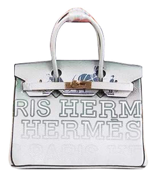 Hermes Birkin 35cm Light Green/White Graded Alphabet Printing Tote Bags Gold Metal