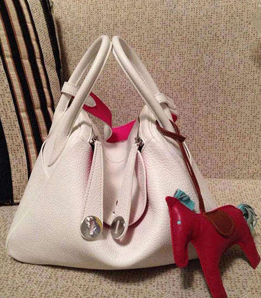 Hermes Lindy 34cm White/Peach Red Togo Leather Silver Metal Bag