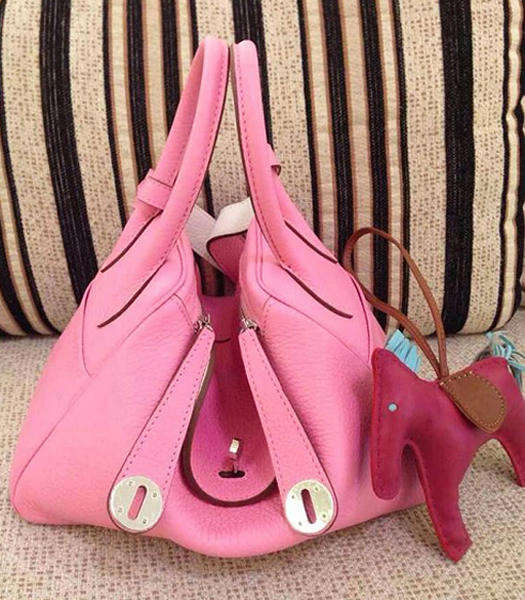 Hermes Lindy 34cm Cherry Pink/White Togo Leather Silver Metal Bag