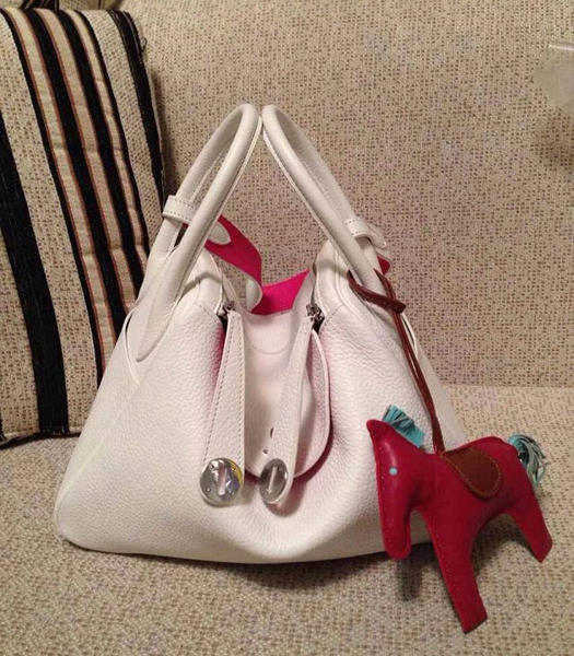 Hermes Lindy 30cm White/Peach Red Togo Leather Silver Metal Bag