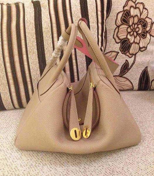 Hermes Lindy 30cm Light Grey/Pink Togo Leather Glod Metal Bag