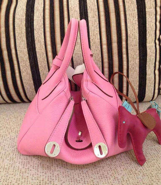Hermes Lindy 30cm Cherry Pink/White Togo Leather Silver Metal Bag