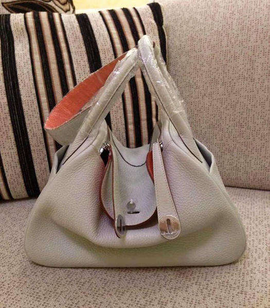 Hermes Lindy 30cm Pearl Grey/Lobster Pink Togo Leather Silver Metal Bag
