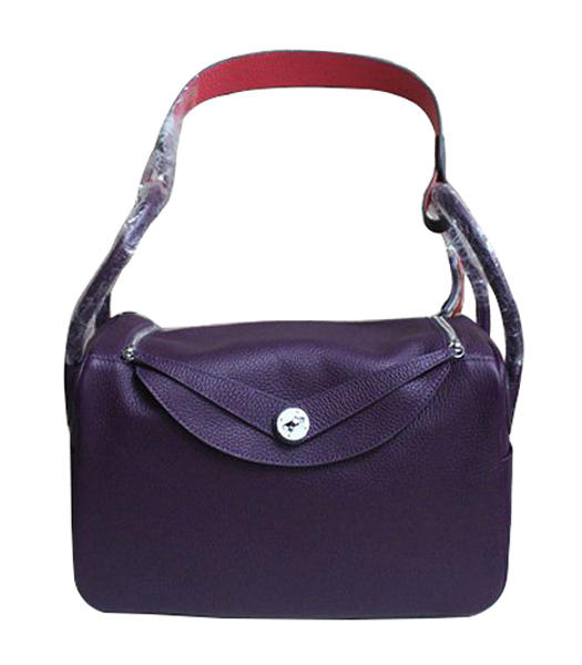Hermes Lindy 30cm Purple/Lipstick Pink Togo Leather Silver Metal Bag