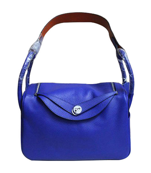Hermes Lindy 30cm Electric Blue/Orange Togo Leather Silver Metal Bag