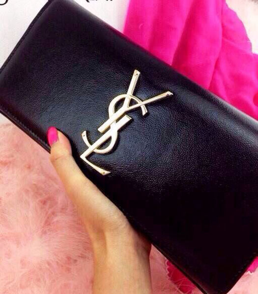 YSL Monogramme Caviar Leather 28cm Black Clutch Golden Metal