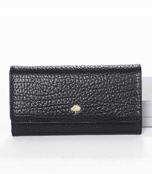 Mulberry Tri-Fold Wallet Black Natural Leather