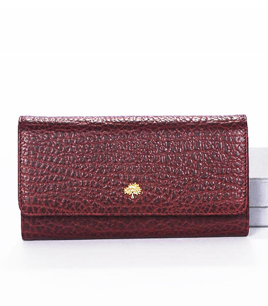 Mulberry Tri-Fold Wallet Jujube Red Natural Leather