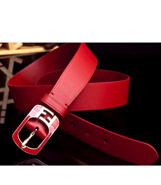 Fendi New Style Hot-sale Red Leather Belt Red Metal