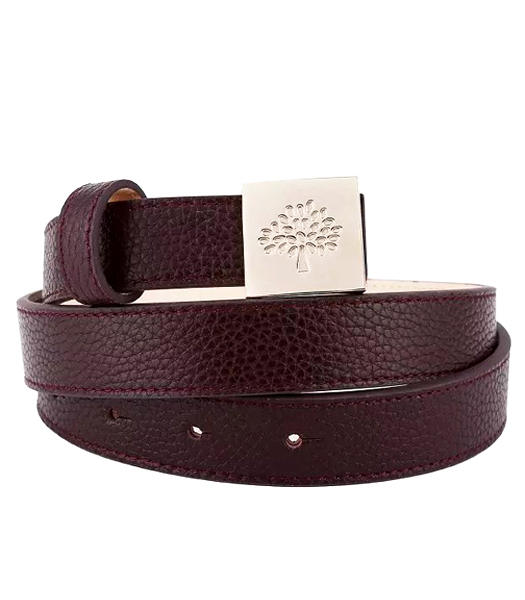 Mulberry Litchi Veins Leather Jujube Red Lady Belt Golden Metal