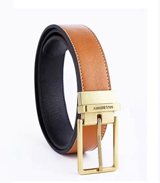 Mulberry Rotary Buckle Double Side Used Light Coffee Men Belt Golden Metal