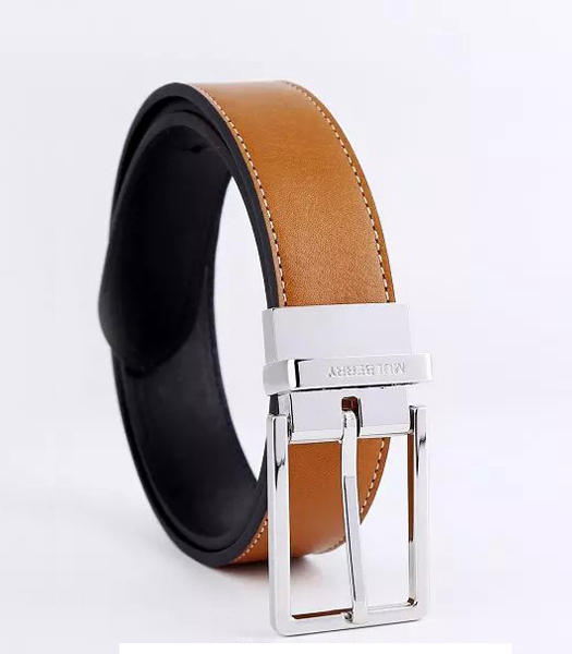 Mulberry Rotary Buckle Double Side Used Light Coffee Men Belt Silver Metal