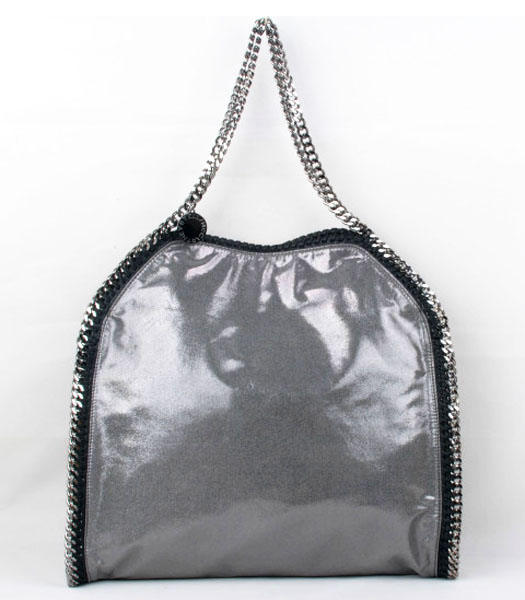 Stella McCartney Falabella PVC Fold Over Silver Large Tote Bags Silver Chains