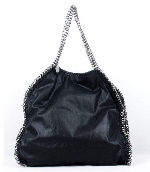 Stella McCartney Falabella PVC Fold Over Black Large Tote Bags Silver Chains