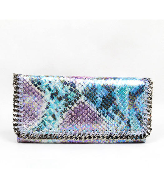 Stella McCartney High Snake PVC Leather Women's Long Wallet Blue