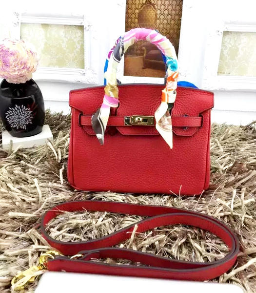 Hermes Birkin Mini Red Togo Leather Strap Golden Metal