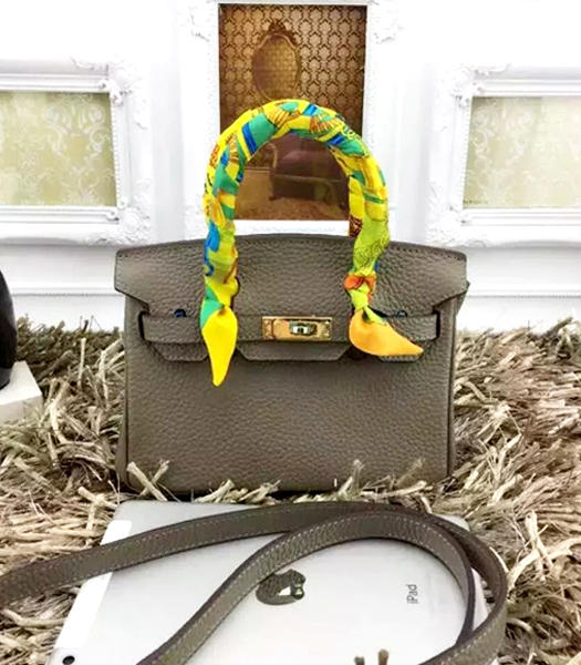 Hermes Birkin Mini Grey Togo Leather Strap Golden Metal