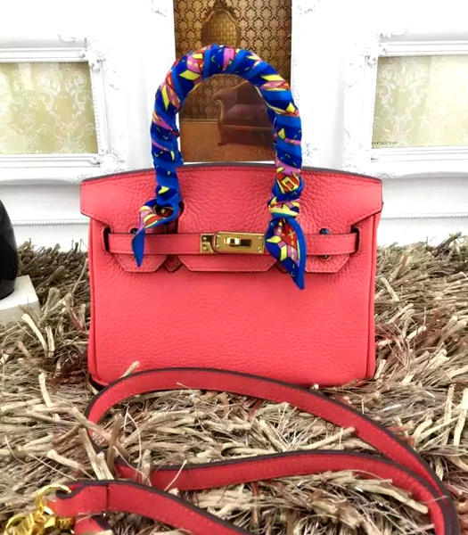Hermes Birkin Mini Lipstick Pink Togo Leather Strap Golden Metal
