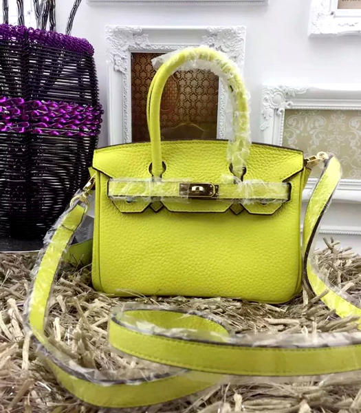 Hermes Birkin Mini Lemon Togo Leather Strap Golden Metal
