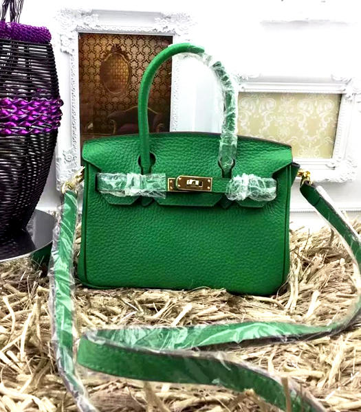 Hermes Birkin Mini Emerald Green Togo Leather Strap Golden Metal