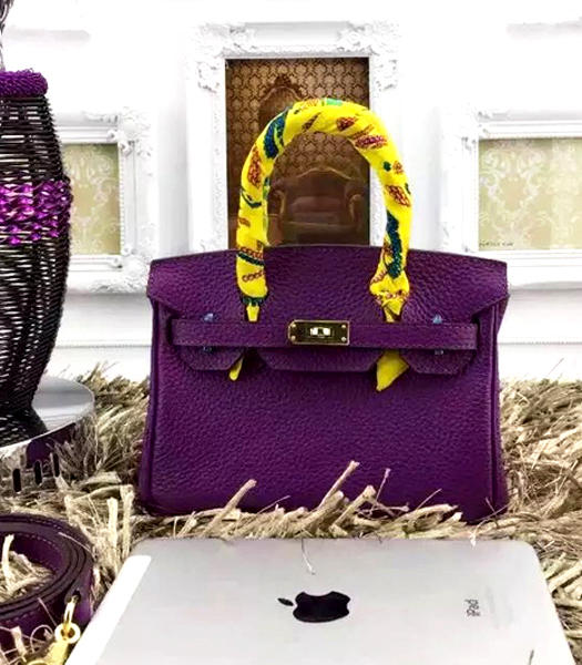 Hermes Birkin Mini Dark Purple Togo Leather Strap Golden Metal