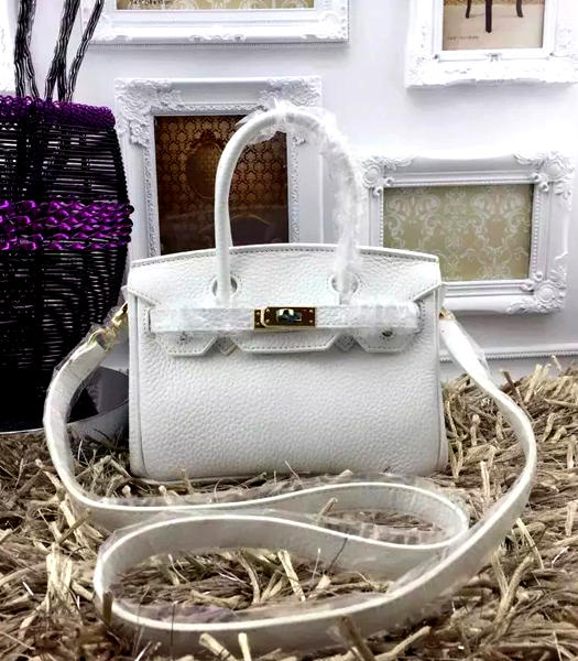 Hermes Birkin Mini White Togo Leather Strap Golden Metal