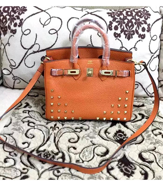 Hermes Birkin 25cm Orange Rivet Togo Leather Strap Golden Metal
