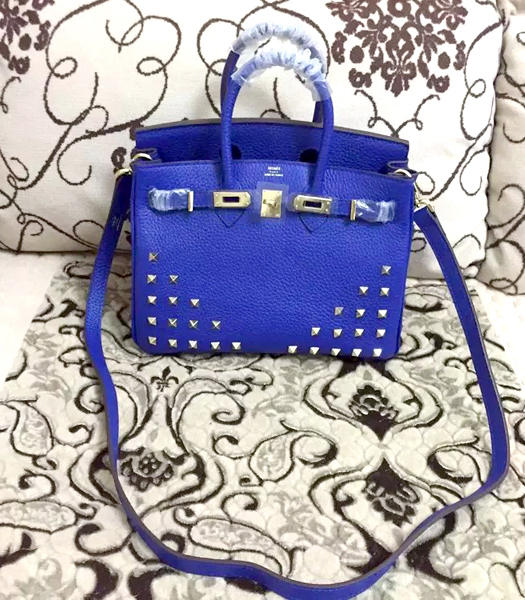 Hermes Birkin 25cm Blue Rivet Togo Leather Strap Golden Metal
