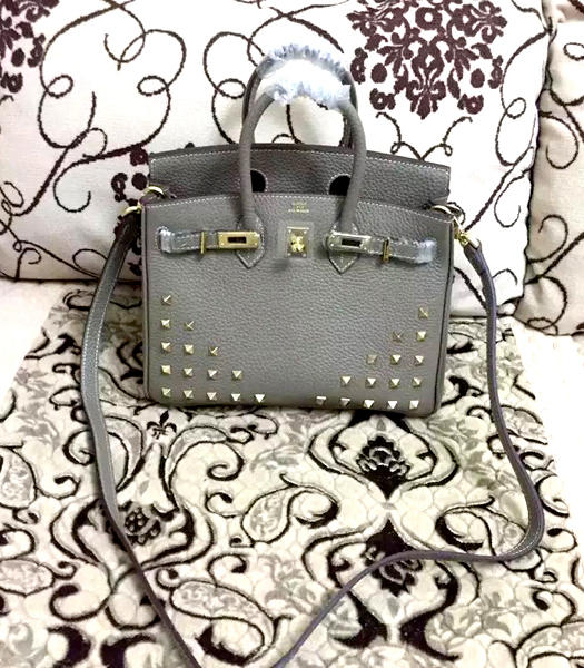 Hermes Birkin 25cm Grey Rivet Togo Leather Strap Golden Metal