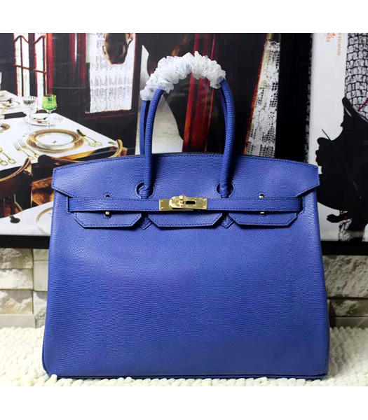 Hermes Birkin 35cm Blue Platinum Lizard Veins Leather Handbags Golden Metal