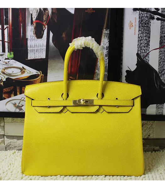 Hermes Birkin 35cm Yellow Platinum Lizard Veins Leather Handbags Golden Metal