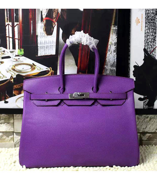 Hermes Birkin 35cm Purple Platinum Lizard Veins Leather Handbags Silver Metal
