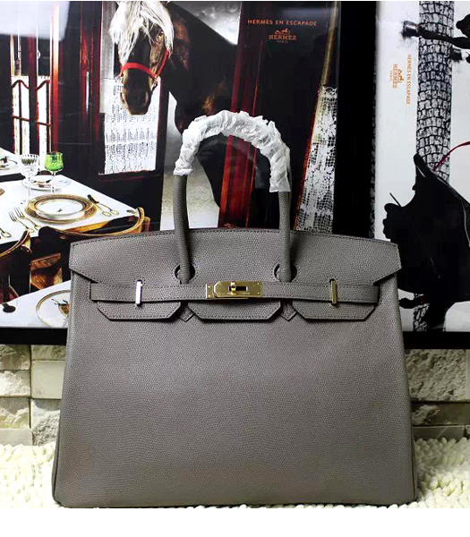 Hermes Birkin 35cm Grey Platinum Lizard Veins Leather Handbags Golden Metal