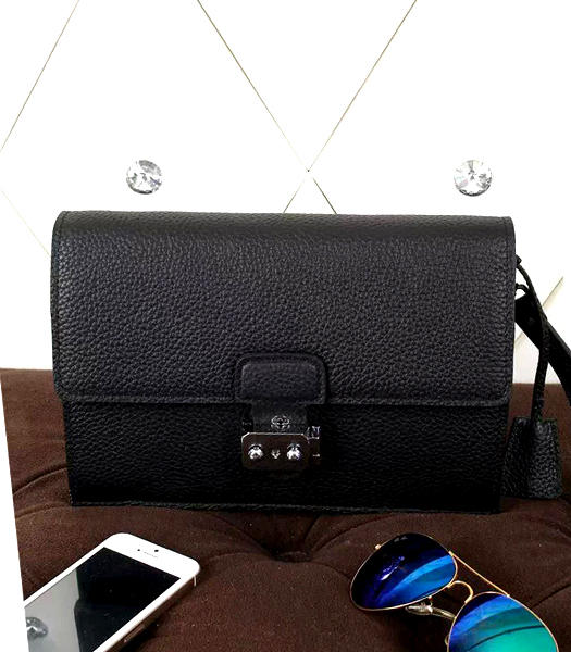 Hermes New Style Litchi Veins Leather Clutch Black