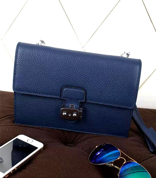 Hermes New Style Litchi Veins Leather Clutch Sapphire Blue